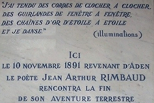 Plaque dedicated to Rimbaud in the Hospital de la Conception, Marseille.