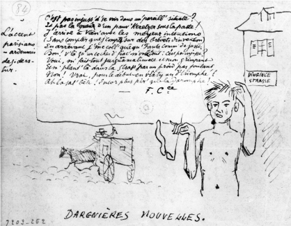 Last News. Rimbaud stripped in Wien, drawing by Paul Verlaine.