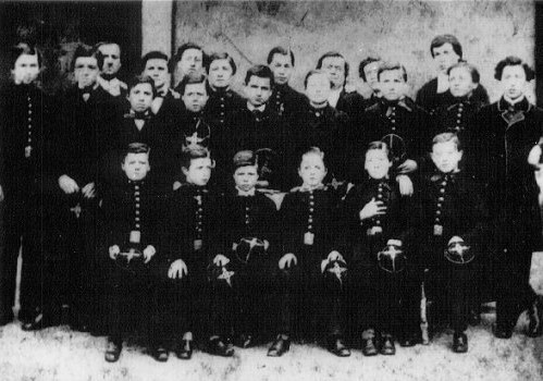 Arthur Rimbaud at the age of 10, among the students of the Rossat Institute