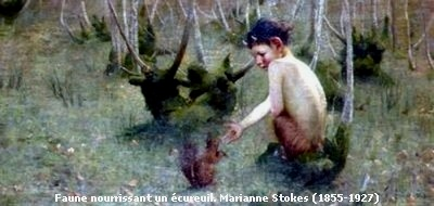 A Faun Feeding a Squirrel